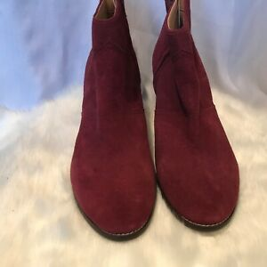 Lands End women Maroon Suede Ankle Boot Size UK 9 US 11B.