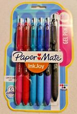 6pk Paper Mate GEL Pens 6 Colours 0.7mm Fast Drying Ink Art Craft PAPERMATE