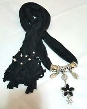 Shawl for Women Black with Flower Accessory Fringe New Rhinestone