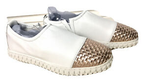 Bernie Mev White And Rose Gold Slip On Leather Sneaker Size 36 New With Tags
