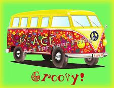 "FRIDGE MAGNET- 60s VW BUS PEACE & LOVE DRAWING REPRODUCTION  - 3.5"" X 4.5"""