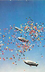 H66/ Akron Ohio Postcard Chrome Goodyear Blimp Zeppelin Rubber Capitol 162