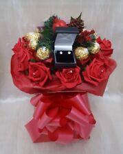 Christmas Ferrero Chocolate Bouquet & Yankee Candles & Earrings  - Gift hamper