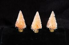Set Of Three Miniature Pink Bottle Brush Christmas Trees With Wooden Bases - Nip