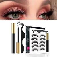 5 Pairs/Set 3D Magnetic Eyeliner Eyelashes And Eyelash With Glue Kit X9A4