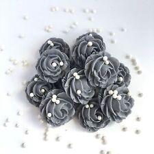 Grey Roses & Pearls Sugarpaste Edible Wedding Flowers Cake Cupcake Decorations