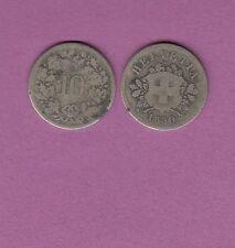 Gertbrolen Suisse  10 rappen en Billon 1850 BB Confédération Helvetica Swiss