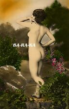 CLASSIC FRENCH VINTAGE POSTCARD NATURIST NUDE DANCER OUTDOORS COLOR TINT PHOTO o