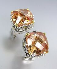 Brown Champagne Cz Crystal Earrings Designer Style Silver Gold Balinese Filigree