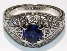 Ladies 14K.White Gold Diamond & Sapphire Ring NEW