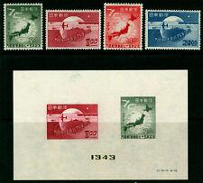 JAPAN  1949  75th ANNIV. of UPU  set + BLOCK S/S  Sk# C167-171  MINT MH