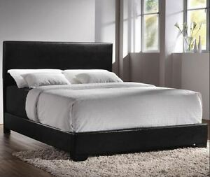 Queen Size Bed Complete Set Faux Leather Frame Bedroom Headboard Furniture Black