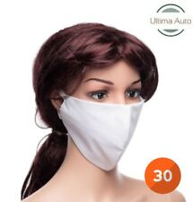 30x White Breathable Fabric Washable Face Mouth Anti Pollution Protection