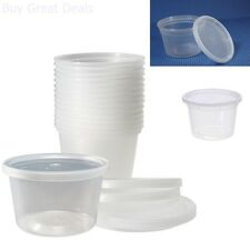 Deli Food Storage Containers Lids 50 Count Clear Take Out Travel Lunch Box 16 Oz