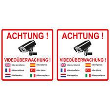 """2 Stück Aufkleber """"Achtung videoüberwachung"""" 7 sprachig, 15x15 cm, selbstklebend"""