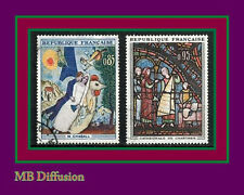 1963 - Timbre France Obl - Vitrail-Art-Tableaux._.Y/t.1398/9 - Stamp/Used (a17)
