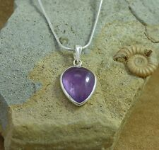 """New 925 Silver & Amethyst Inverted Teardrop Pendant on an 18"""" Snake Chain"""