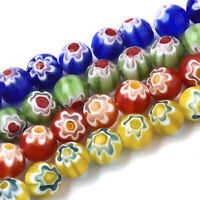 10 Strds Handmade Millefiori Lampwork Glass Beads Round w/ Flower Colorful 8mm