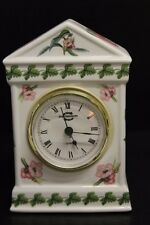 "PORTMEIRION THE BOTANIC GARDEN Mantel Clock Floral Butterflies Insects ~ 6"" Tall"