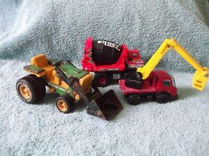"Lot 3 small Tonka trucks - cement mixer basket truck & vintage tractor size 6"""