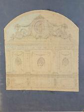 CROQUIS DE MURALE. DESSIN DU CHARBON ET PASTEL. ARCHITECTES RIUS. CIRCA 1940.