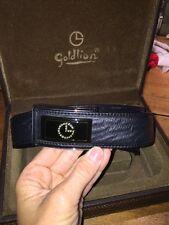 Goldlion Leather Belt & Buckle Size 48 with Box, Belt EUC!