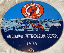 VINTAGE MOHAWK GASOLINE PORCELAIN SIGN, GAS STATION, PUMP PLATE, MOTOR OIL