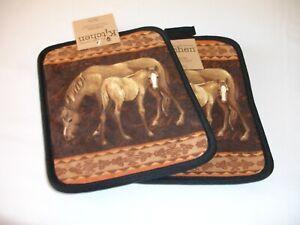 New! S/2 Horses Horse Foal Potholders Kitchen Potholder Set Cotton Potholder Set