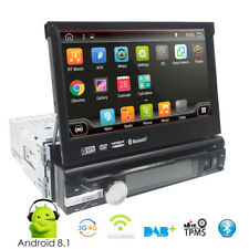 "7"" Single 1 DIN Android 8.1 Flip Up Car DVD Player Stereo Radio Motorized GPS Sa"