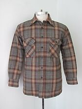 Vgc Vtg 70s Brown Gray Plaid Flannel Hunting Shirt Jac Quilted Nylon Lining S