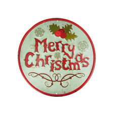 """Metal Round """"Merry Christmas"""" Sign with Mistletoe, Mint Green, 11-3/4-Inch"""