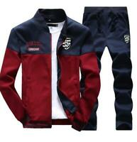 Mens Casual Sport Tracksuit Suit Sweatshirt Athletic Jacket + Pants Sportswear