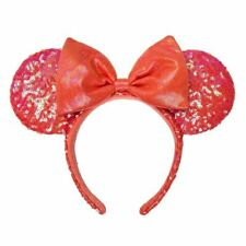 Minnie Mouse Sequined Ear Headband in Coral, Disneyland Paris