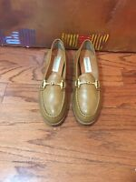 Etienne Aigner Women's Tan Leather Leather Slip On Loafers Flat Shoes 6N