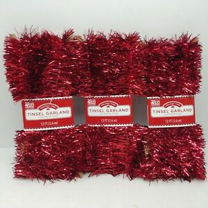 Lot of 3 - Red Tinsel Garland Christmas Holiday Decoration - 12 Ft Each Pack