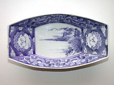 Beautiful Vintage Chinese Hand Painted Blue & White Oblong Bowl