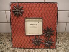 """PAPYRUS """"Cranberry Provence"""" 4"""" Photo Picture Frame Chicken Wire Over Wood New"""