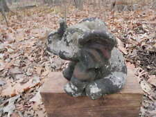 """Vtg Cement 6"""" Tall Trunk Up Elephant Lawn Chip Paint Statue Weathered Concrete"""