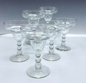 6 Margarita Seafood Cocktail Glasses Candlewick Style Elegant Ball Stem