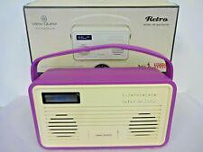view quest retro dab/dab+ fm radio in purple cover with ipod dock & boxed