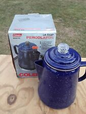 Vintage Coleman 14-Cup Coffee Enamelware Percolator Blue Made in USA 802A705