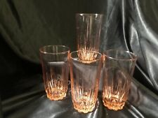 4 Pink Glasses Arcoroc Beverage Glasses Made France Drink Tumblers Service Ware