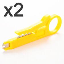 x2 Denudeur de Cable Pince Outil pour Denuder Coupe Fil Réseaux Coaxial RJ45 Lot