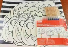 New Creatology Halloween Color-In Masks Kit ~ Makes 12 ~ Pumpkin Witch Cat Frank