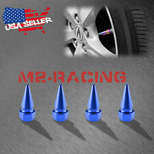 4PCs Blue Long Spike Valve Stem Caps Metal Thread Set For Wheel Tires TVC17