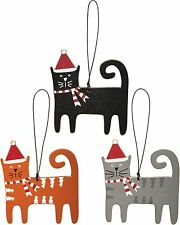 Set of 3 Wood CAT Ornaments Christmas Home Decor Primitives by Kathy