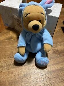 Disney EASTER WINNIE THE POOH IN BLUE BUNNY COSTUME Plush Stuffed Animal NEW