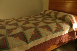 """Handmade Log Cabin Queen Quilt Cotton Hand Quilted 90""""x100"""""""
