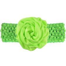 Baby Girl Wide Turban Crochet Headband Head Wrap Hair Band With Flower Green