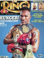 Evander Holyfield Signed Autographed Ring Magazine Matted Framed Beckett BAS